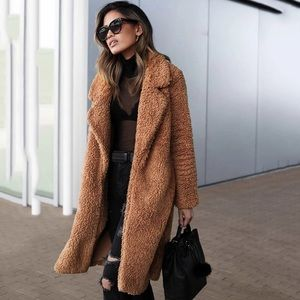 Jackets & Blazers - Faux fur plush teddy women's camel coat